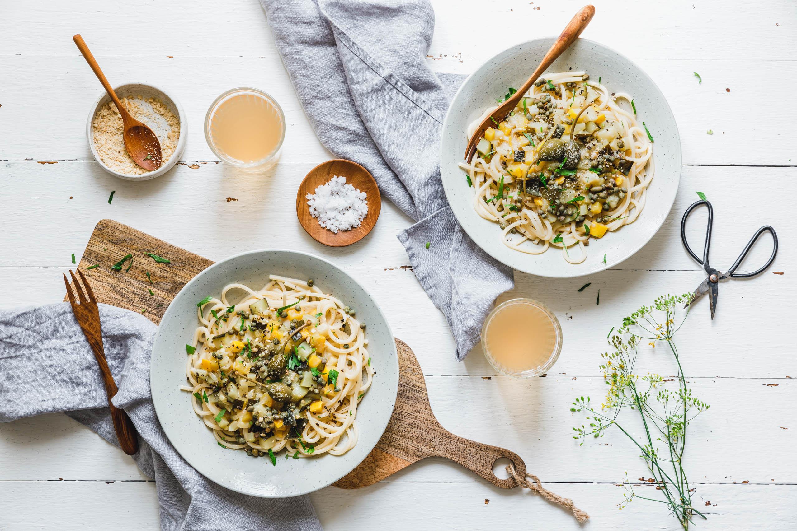 Spaghetti mit cremigem Zucchini-Ragout