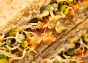 Hummus-Sprossen-Sandwich - http://www.eat-this.org - Featurebild