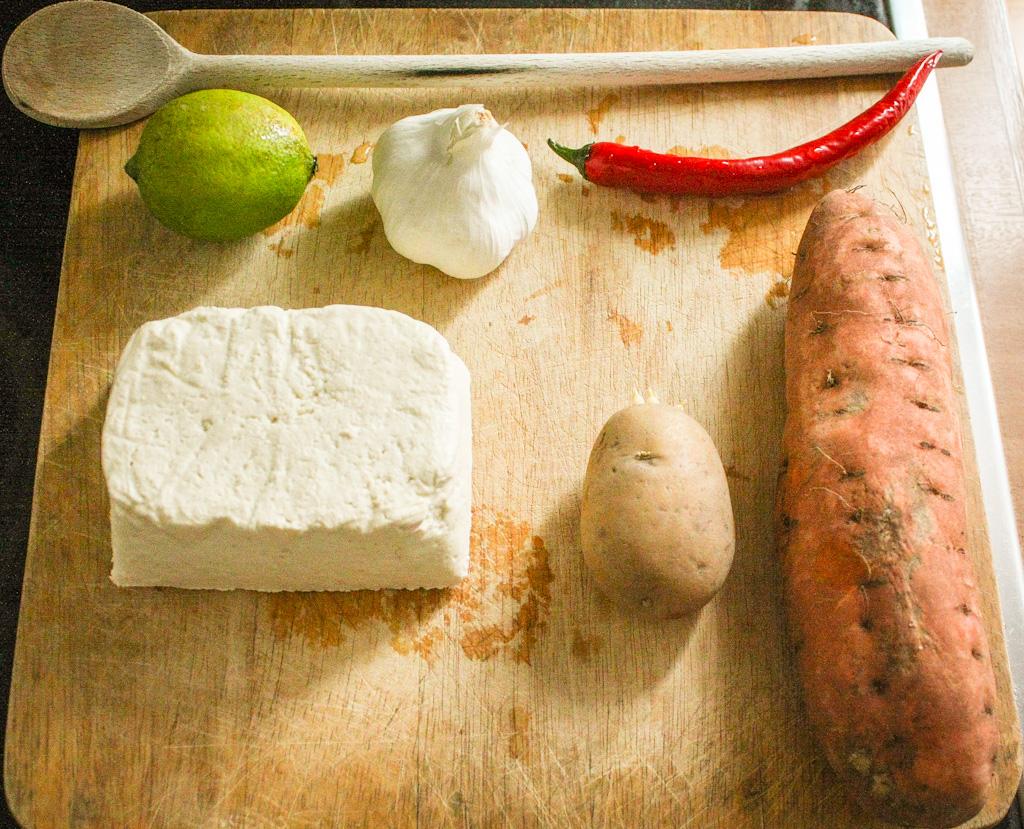 Glasierter Chili-Tofu mit Süßkartoffeln - Zutaten