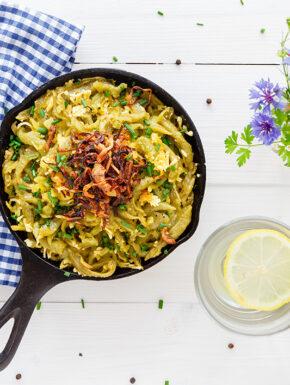 Vegane Pesto-Käsespätzle