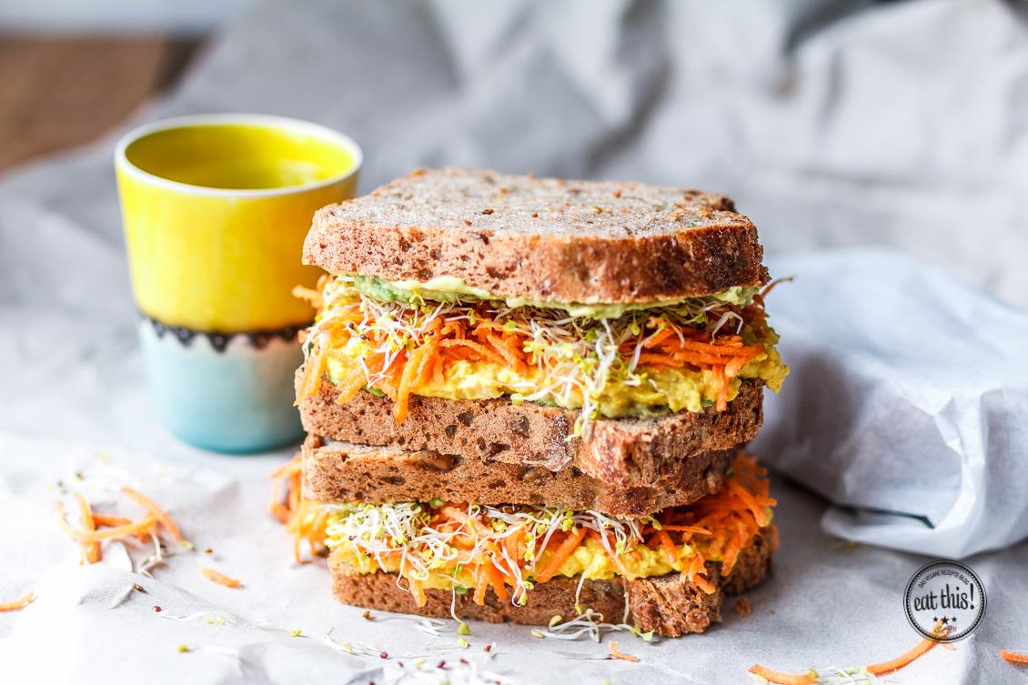 Vollkornsandwich mit Kurkuma-Currysalat & 24h in Antwerpen