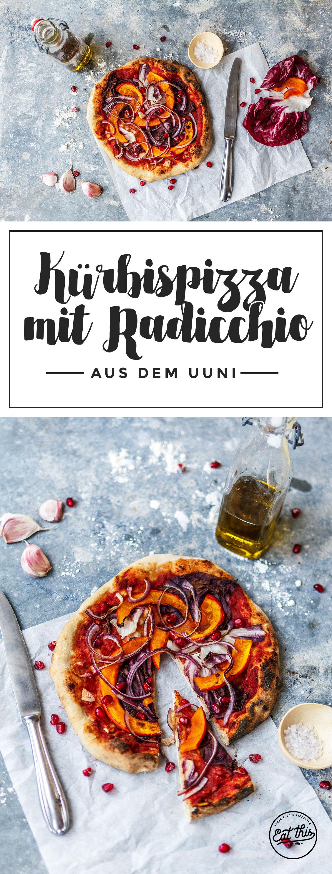 Kürbispizza mit Radicchio und Granatapfel aus dem Uuni