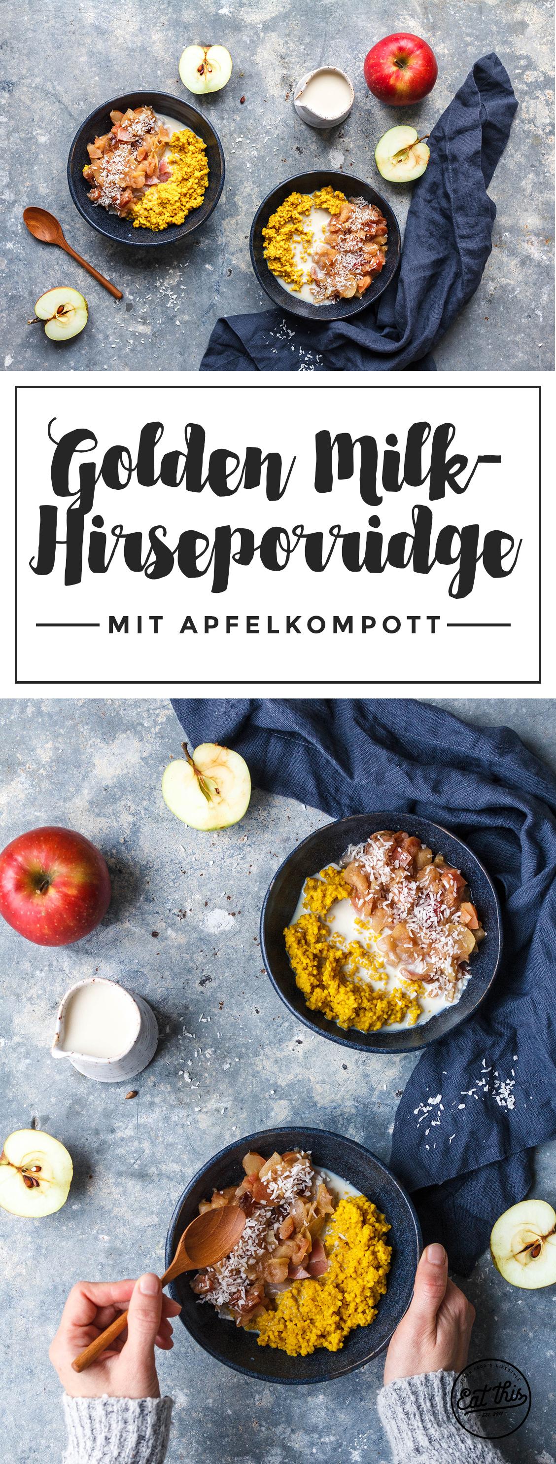 Goldene Milch-Hirseporridge mit schnellem Apfelkompott