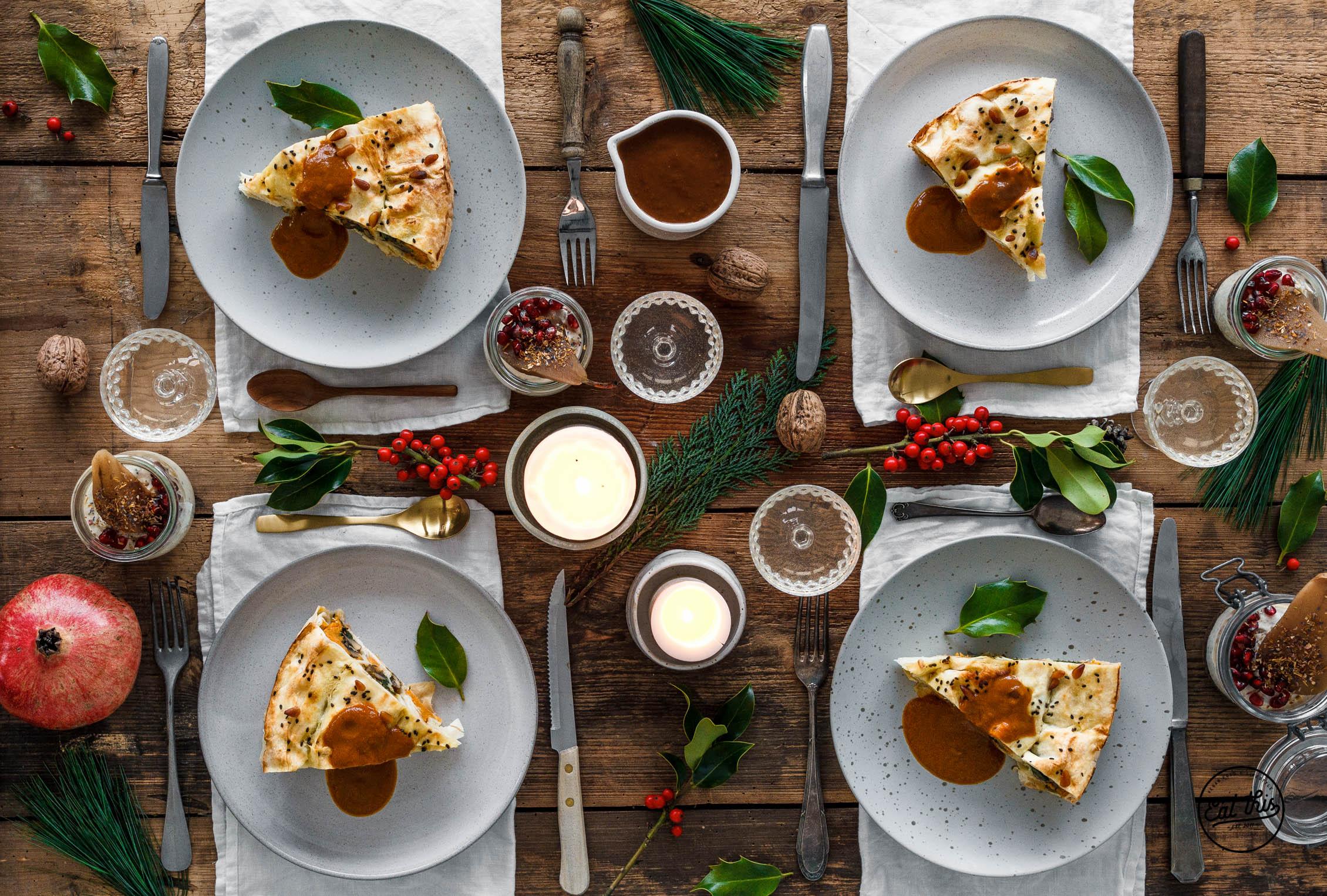 Süßkartoffel-Strudel mit Champignons, Spinat & Pinienkernen • Weihnachtsmenü 2016