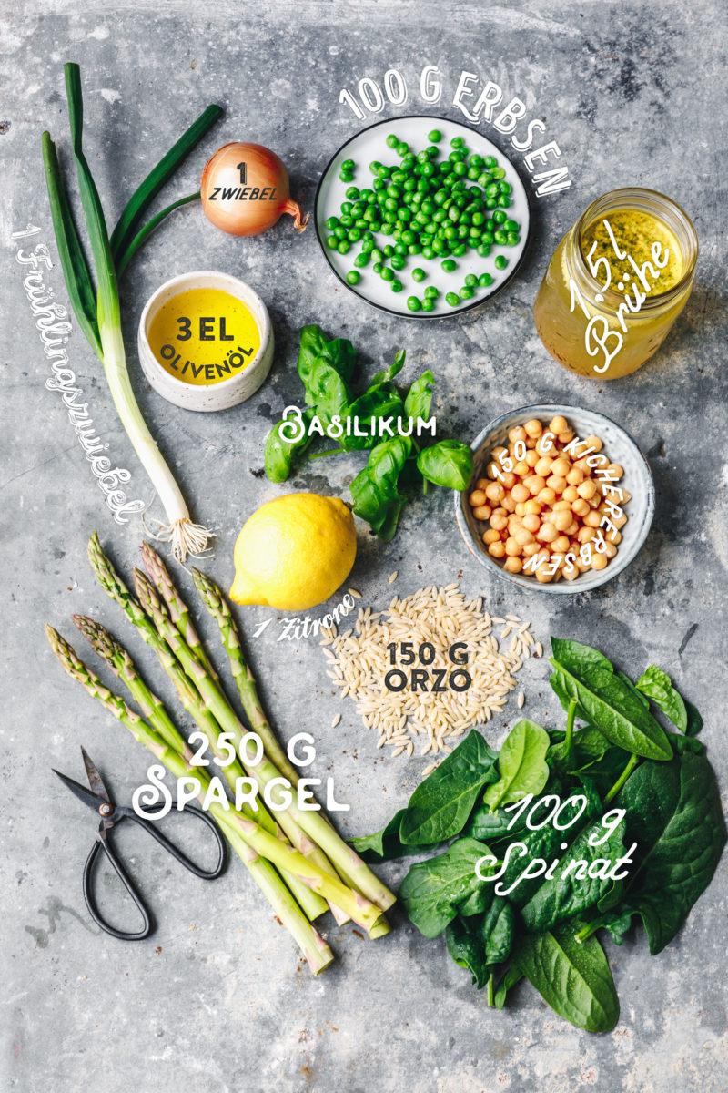Grüne Frühlingsminestrone mit Orzo & Spargel