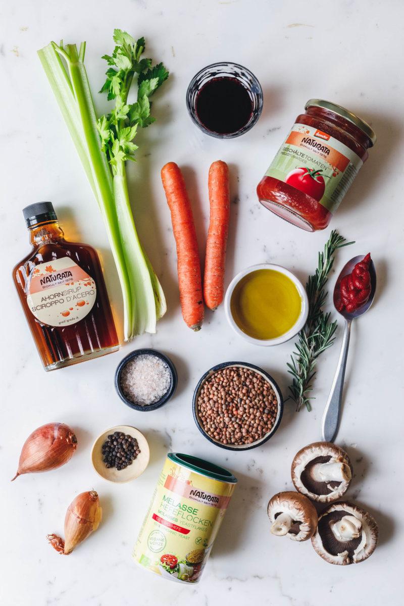 Zutaten für eine vegane Bolognese