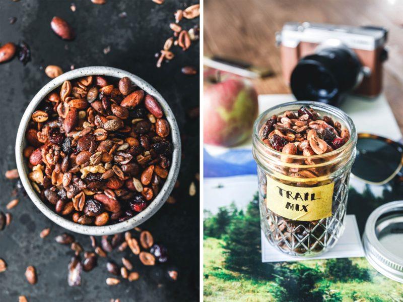 Herzhafter crunchy Trail Mix mit Mandeln, Erdnüssen und Gewürzen