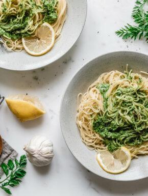 Capellini mit Karottengrün-Pesto