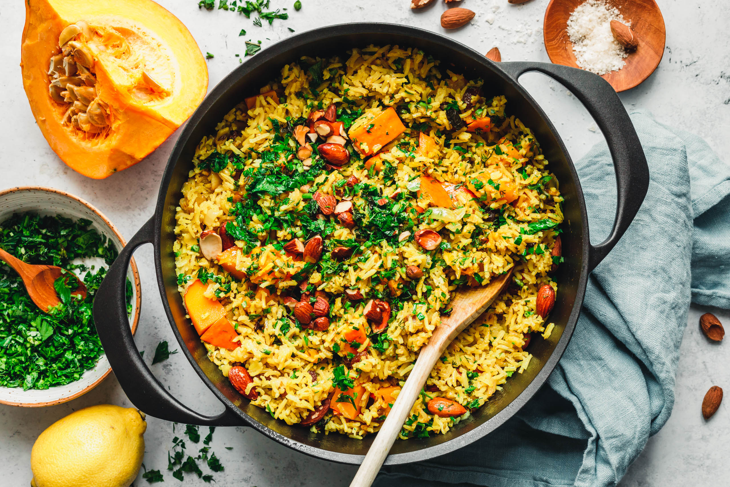 One-Pot-Reispfanne mit Kürbis