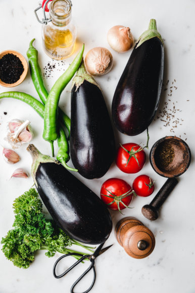 Auberginen, Tomaten, Paprika, Olivenöl
